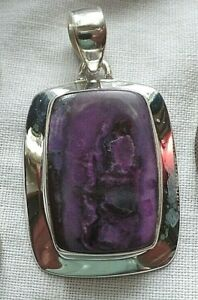 Very Rare Superb Stylish Sterling Silver and Sugilite Pendant 9.4g Wesselite