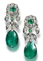 Lab Emerald Earrings Vintage Style Cocktail Dangle 925 Sterling Silver Handmade