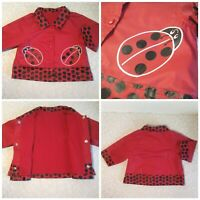 MOTHERCARE BABY GIRLS RED & BLACK SPOTTED LADYBIRD MAC JACKET ~ AGE 6-9 MONTHS