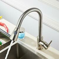 Kitchen Spring Faucet Swivel Sink Bar Pull Out Sprayer Single Hole Mixer Tap New
