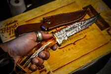 Damascus Stag Bowie Knife