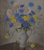 """Still Life Gouache """"A Vase of poppies and cornflowers"""" by Eileen Addison"""