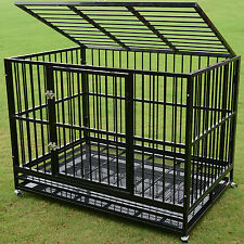 """48"""" Heavy Duty Strong Metal Pet Dog Cage Crate Cannel Playpen Wheels&Tray Black"""