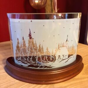 Rustic Cabin Frosted Curved Glass On Wood Base~Tea-light Tealight Candle Holder