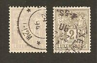 Timbres (x2) 1882 LUXEMBOURG N°Yvert 47 & 48: 1 et 2 c. gris, oblitérés, en TB