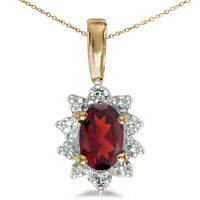 """14k Yellow Gold Oval Garnet And Diamond Pendant with 18"""" Chain"""