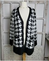 Isaac Mizrahi Live Black and White Cardigan Sweater, Women's Size Small