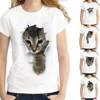 Women's Short Sleeve Cat Print Summer T-Shirt Tops Round Neck Loose Blouse Plus