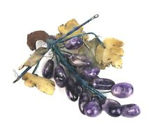 Vintage Purple Carved Stone Marble Alabaster Grape Cluster Bunch Fruit Deco