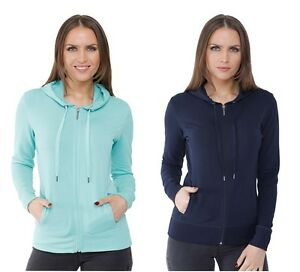 Women's Ladies Zip Hoodie Navy Jacket Jumper Hooded Sweatshirt Activewear