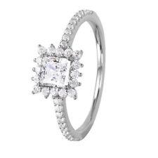 SQUARE 925 STERLING SILVER LADIES RING W/ PRINCESS DIAMOND/ NEW DESIGN!! SZ 5-9