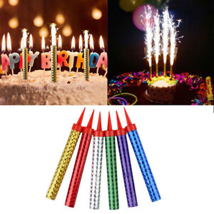 6 Pcs/Bag Multicolor Birthday Cake Candles Bar Festival Party Firework Candli