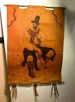 RARE Pen Etching - Renaissance Man with Guitar on Leather Signed by Artist 1977