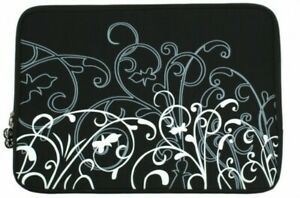 """15"""" Black and White Fleur Carrying Case Sleeve"""