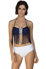 Costume Da Bagno Frange Bicolore Culotte Slip Tassel Bikini Swimwear Swimsuit L