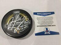 Matt Murray Signed 2016 Stanley Cup Penguins Hockey Puck Beckett BAS COA a