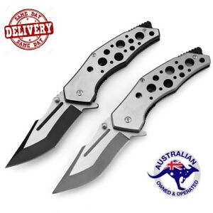 Stainless Steel Pocket Folding Knife Hunting Camping Outdoor Survival Knife AU