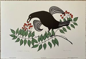 Crow in a Mountain Ash Tree by Rie Munoz - Artist Proof
