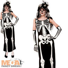 Skeleton Ladies Fancy Dress Spooky Gothic Bones Adults Halloween Costume Outfit