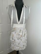 Dolce & Gabbana D&G ivory heavy embellished deep V plunge  dress sz UK6-8US2EU32