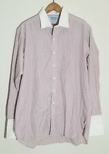 Hilditch & Key Red and White Stripe French Cuff Button Down Shirt Size 16.5
