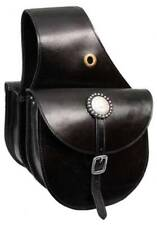 Showman BLACK Top Grain Leather Western Saddle Bag! NEW HORSE TACK!