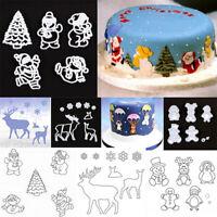 Christmas Snowflake Santa Claus Cookie Cutter Fondant Mold Cake Decorating NT