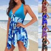 Women Bikini Tankini Set Halter Swimdress Padded Beachwear Push Up Plus Size