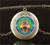 Vintage Tree Of Life Photo Cabochon Glass Brass Locket Pendant Necklace