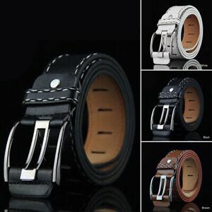 Mens Vintage Leather Smooth Buckle Belt Waistband Leisure Waist Belt Strap