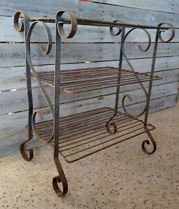 Vintage Rusty Wrought Iron Wire 3 Tier Garden Plant Stand Rack Shelf Table