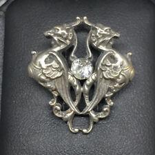 Art Nouveau Broche ancienne Chimère Dragon et brillant Antique brooch XIX
