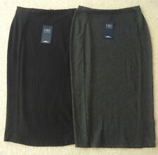 M&S Collection Sizes 8-18 Pull On Stretch Pinstripe Pencil Skirt 27L Black Grey