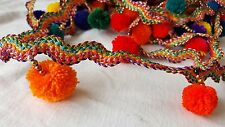 4.5cm- 1 meter Beautiful multi-coloured ribbon & pompom fringe lace trimming