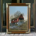 Vintage H. Hargrove Serigraph Oil on Canvas Red Covered Bridge Signed