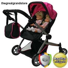 Baby Doll Pram Stroller Luxury Leather Look Twin Double Carriage Play Pink New