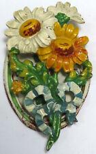 Rare Vintage 1930S Hubley ? Cast Iron Daisy Flower Door Knocker Nice Paint