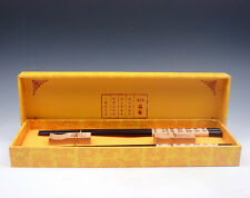 Gift Set 2 Pairs Blessing Characters Symbols Wooden Chopsticks w/ 2 Holders NEW