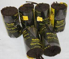 "Lot of 6 Vtg Bucilla Rya Yarn Latch Hook Rug Yarn 4"" Dark Brown #432 Super Spun"