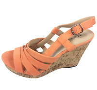 Womens Ladies Coral Faux Suede High Wedge Heel Strappy Shoes Sandals Size 8 New