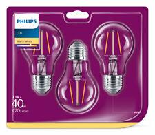 3er-Set Philips LED Birne E27 4.3W 470lm warmweiss 2700K Filament wie 40W