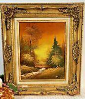 """""""Autumn Dawn"""" Original certified Oil /Signed Guilt Gesso Gold Leaf Frame Vintage"""