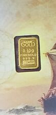 1/10 Gram .9999 Fine Gold Bar in Assay Card  KARATBAR - KARATPAY E-8