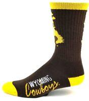 Wyoming Cowboys NCAA Brown Crew Sock Gold Heel Toe and Cuff with Logo on Leg