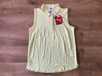 Women's 2020 PUMA Flight Sleeveless Golf Polo Shirt Yellow SZ S ( 595832 02 )