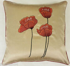 """2 GRACEFUL POPPY RED CREAM FAUX SILK FLORAL POPPY 22"""" EMBROIDERED CUSHION COVERS"""