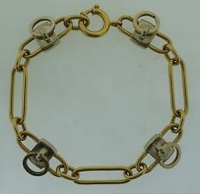 CARTIER 18K YELLOW GOLD WHITE GOLD LOCK CHARM LINK CHAIN BRACELET C1980