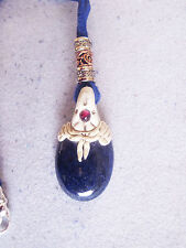 Medieval Lapis Lazuli  Stone Fimo Deerskin Necklace