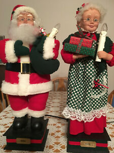 """1994 Holiday Creations 24"""" Animated Santa & Mrs. Claus Holiday Lighted Motion"""