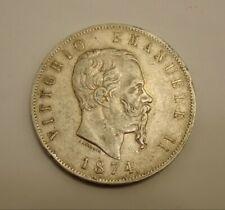 ITALIE : Pièce de 5 Lires en Argent Victor Emmanuel II en Argent de 1874 MB